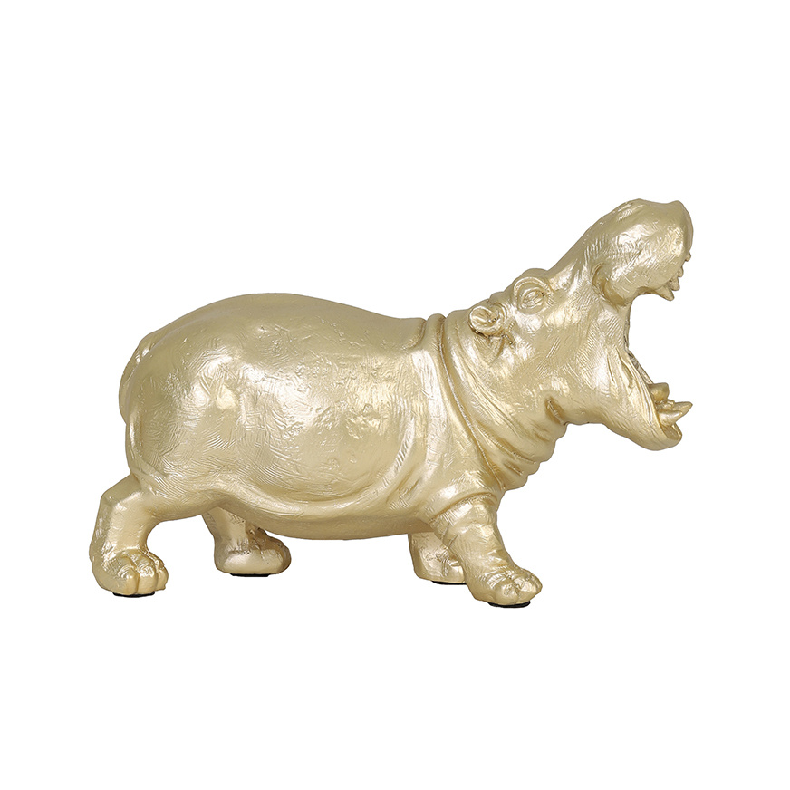 Gold hippo table lamp