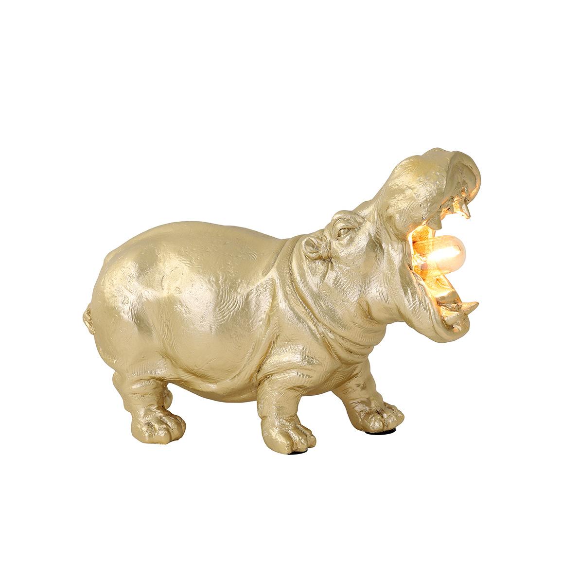 Gouden hippo tafellamp