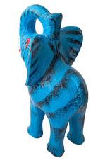 Aparte blauwe olifant spaarpot van keramiek