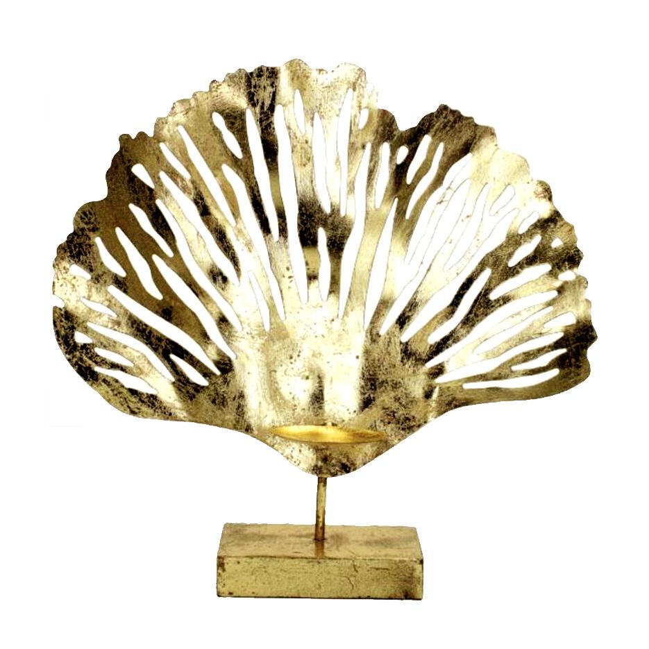 Gouden koraal theelichthouder
