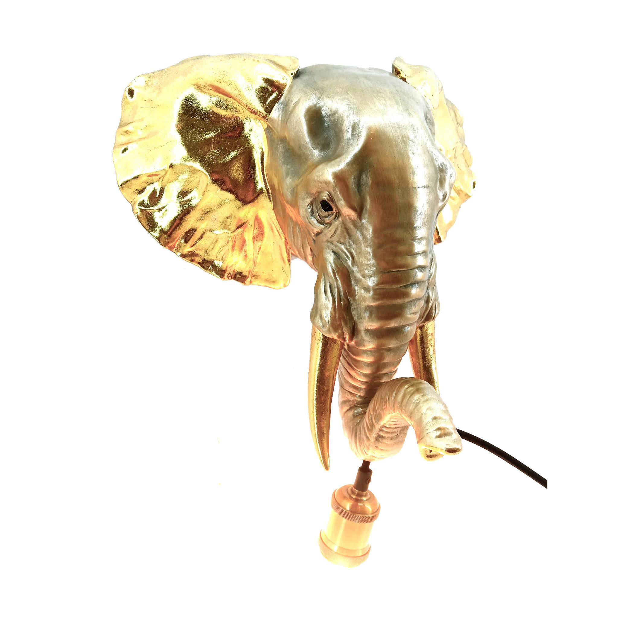 Gouden olifant dierenkop wandlamp