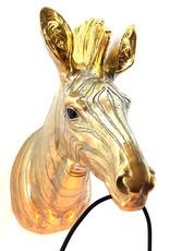 Gold zebra head wall light