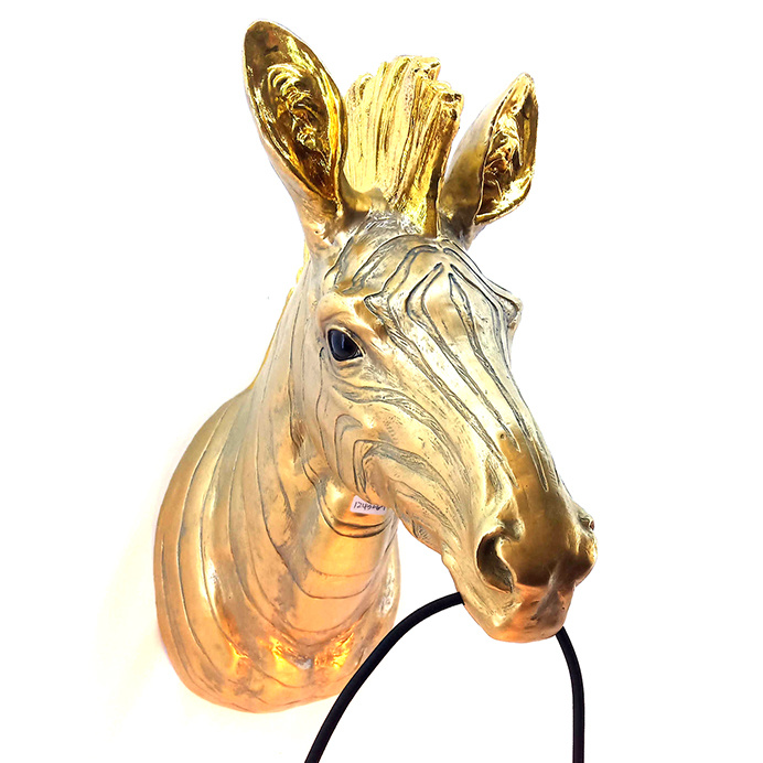 Gouden zebra dierenkop wandlamp