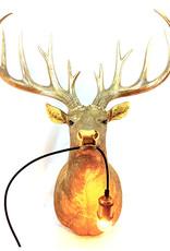 Gold XL stag deer head wall light