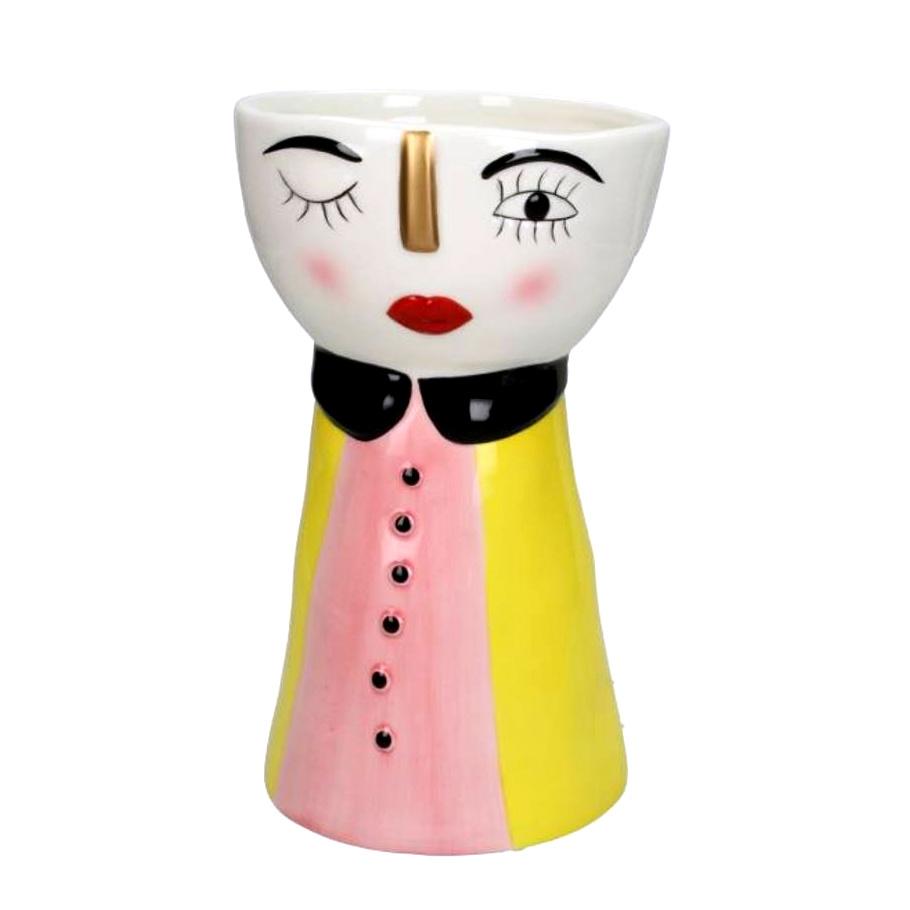 Ceramic doll face planter