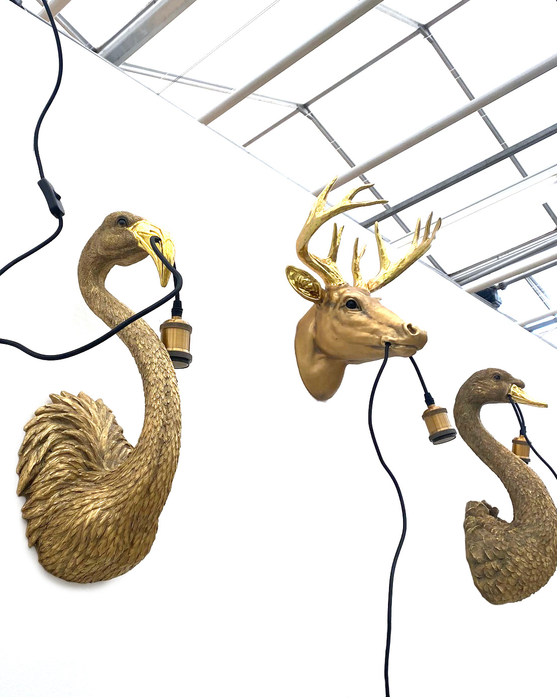 Gouden hert wandlamp
