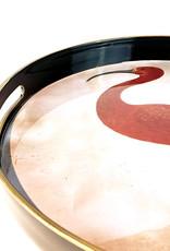 Rond dienblad met roze ibis vogel print