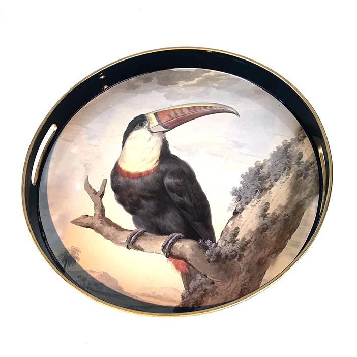 Rond dienblad met toekan vogel print