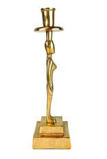 Gouden kandelaar in de vorm van een vrouw figuur