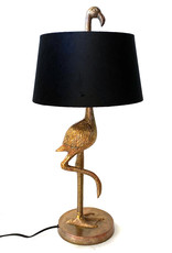 Gold flamingo table lamp with black shade