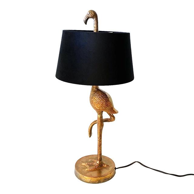 Gouden flamingo tafellamp met zwarte kap