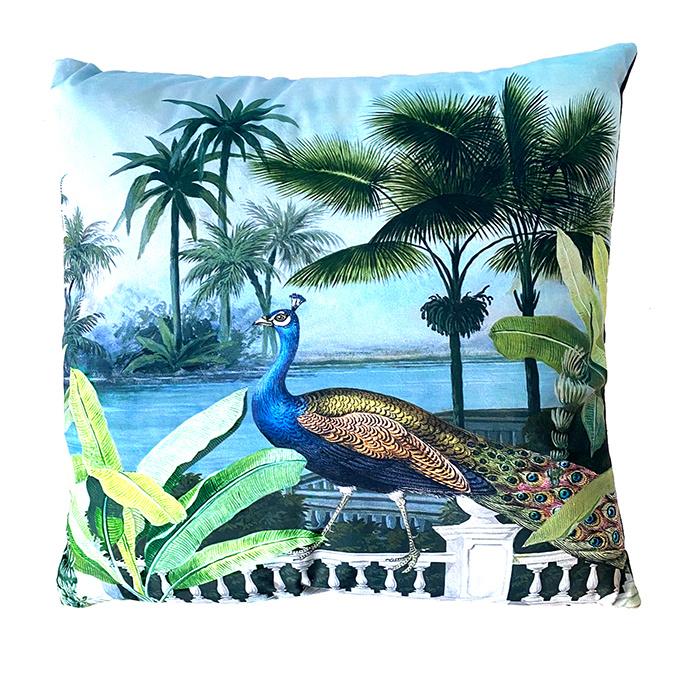 Luxury sofa cushion with peacock print
