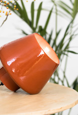 Brick red ceramic table lamp