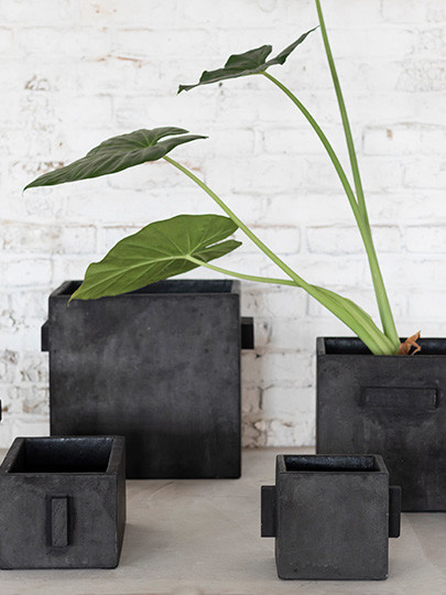 Square black concrete planter