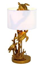Gouden tafellamp met schildpadden