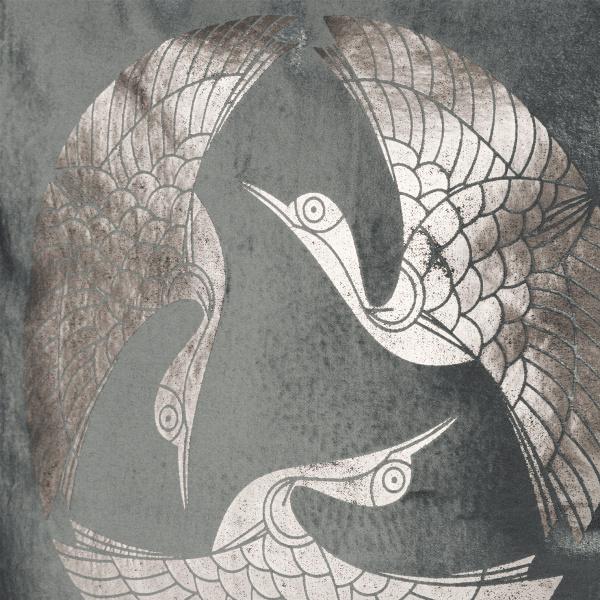 Fluweel sierkussen met gouden vogels print