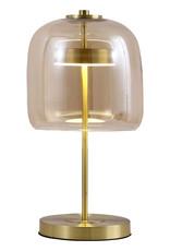 """Gouden retro tafellamp met rookglas """"Cooper"""""""