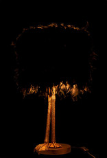 Zwarte struisvogelveren lamp met gouden poten