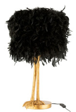 Black ostrich feather lamp with gold bird legs