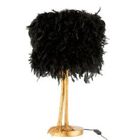 Zwarte struisvogelveren lamp