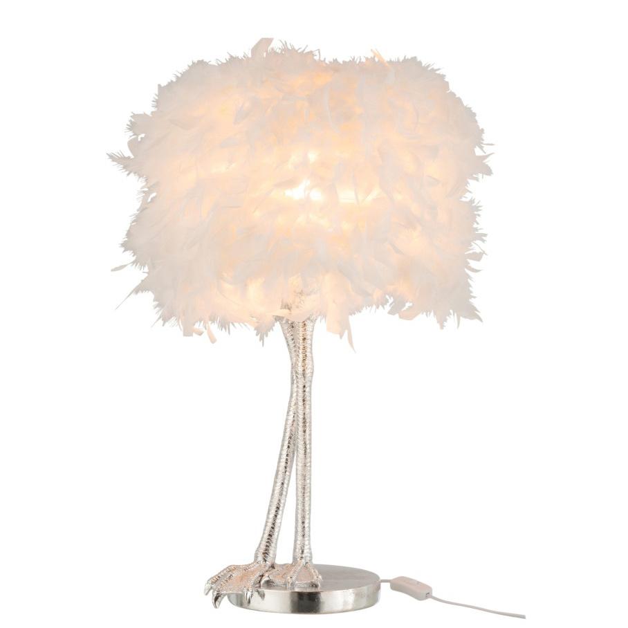 Witte struisvogelveren lamp met zilveren poten