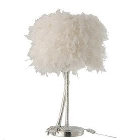 Witte struisvogelveren lamp