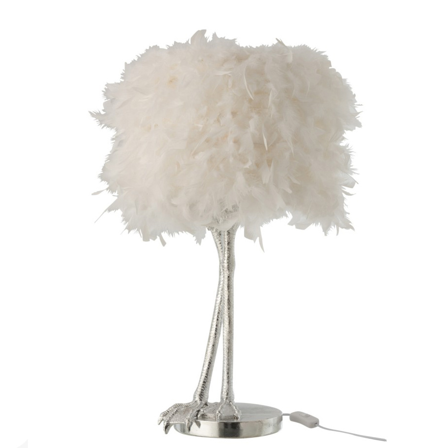 White ostrich feather lamp with silver bird legs