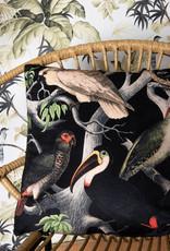 Zwart sierkussen met vogels print