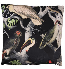 Black cushion with birds