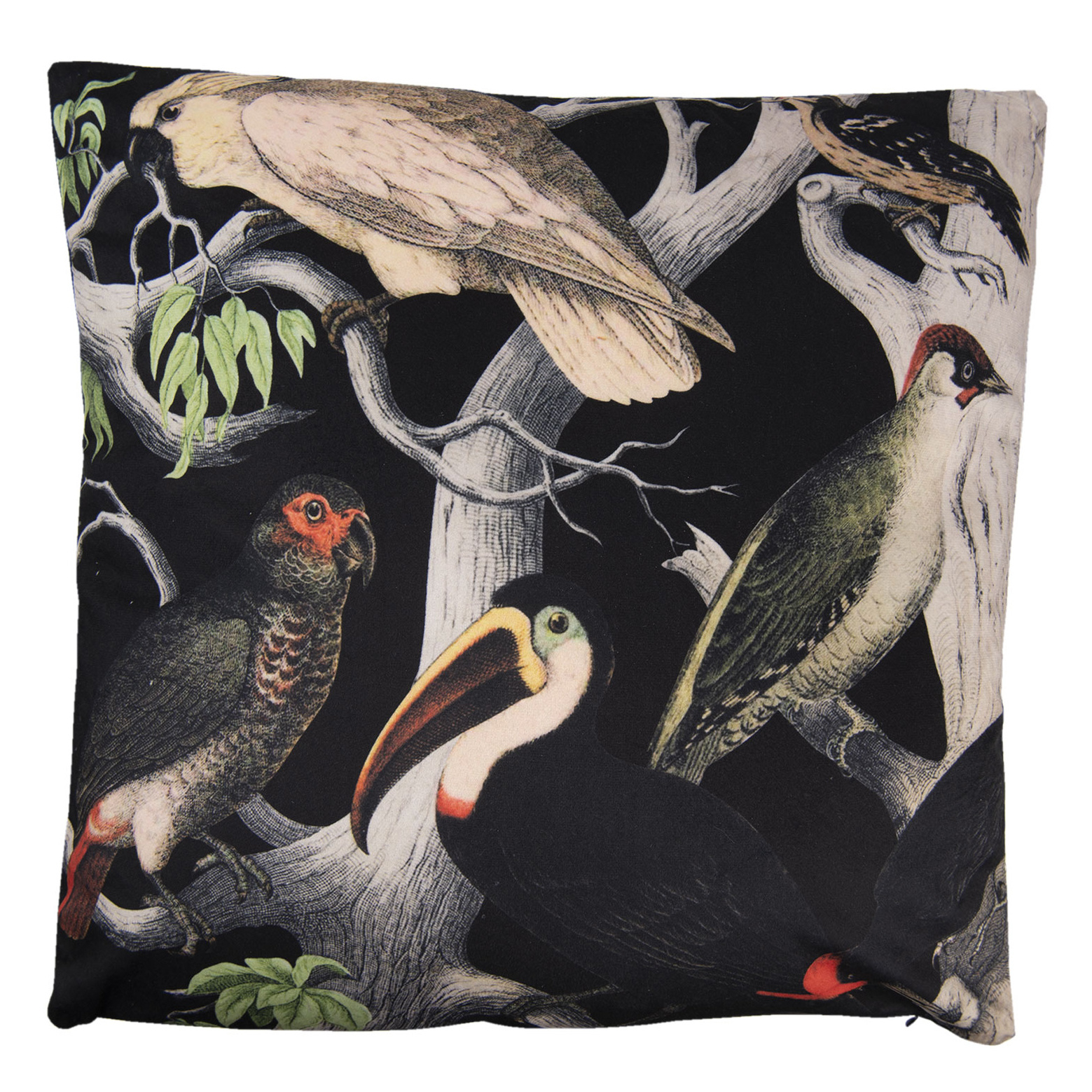 Black cushion with birds print