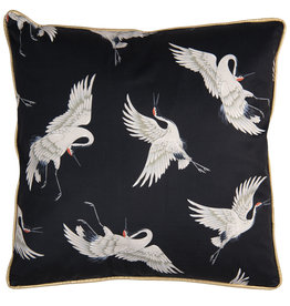 Black cushion with cranes