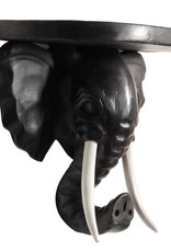 Black wood elephant wall console