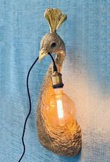 Gouden pauw wandlamp