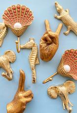 Gouden zeepaard wandhaakje