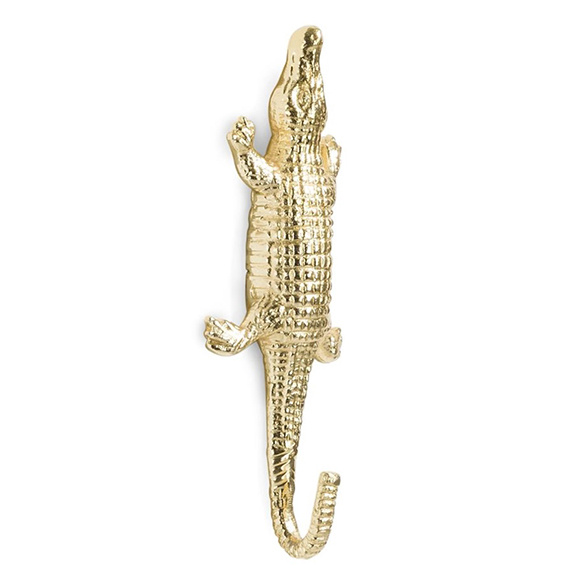 Gold crocodile coat hook