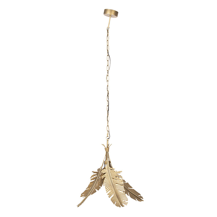 Gold pendant light with palm leaves