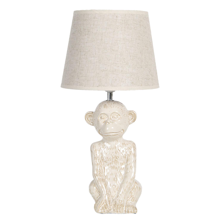 White ceramic monkey lamp