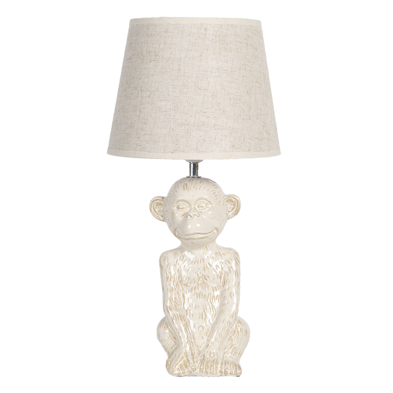 Wit keramieken aap tafellampje
