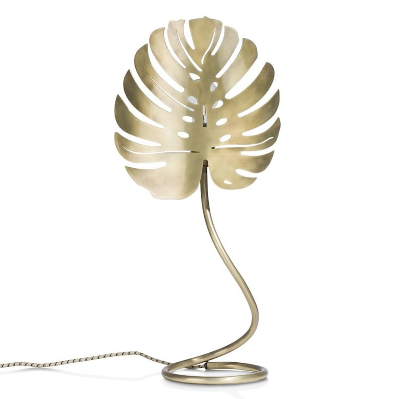 Gold monstera leaf table lamp