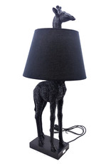 Black giraffe table lamp with shade