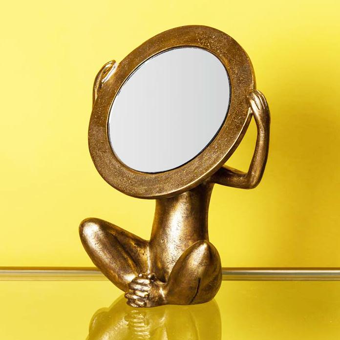 Gold monkey mirror