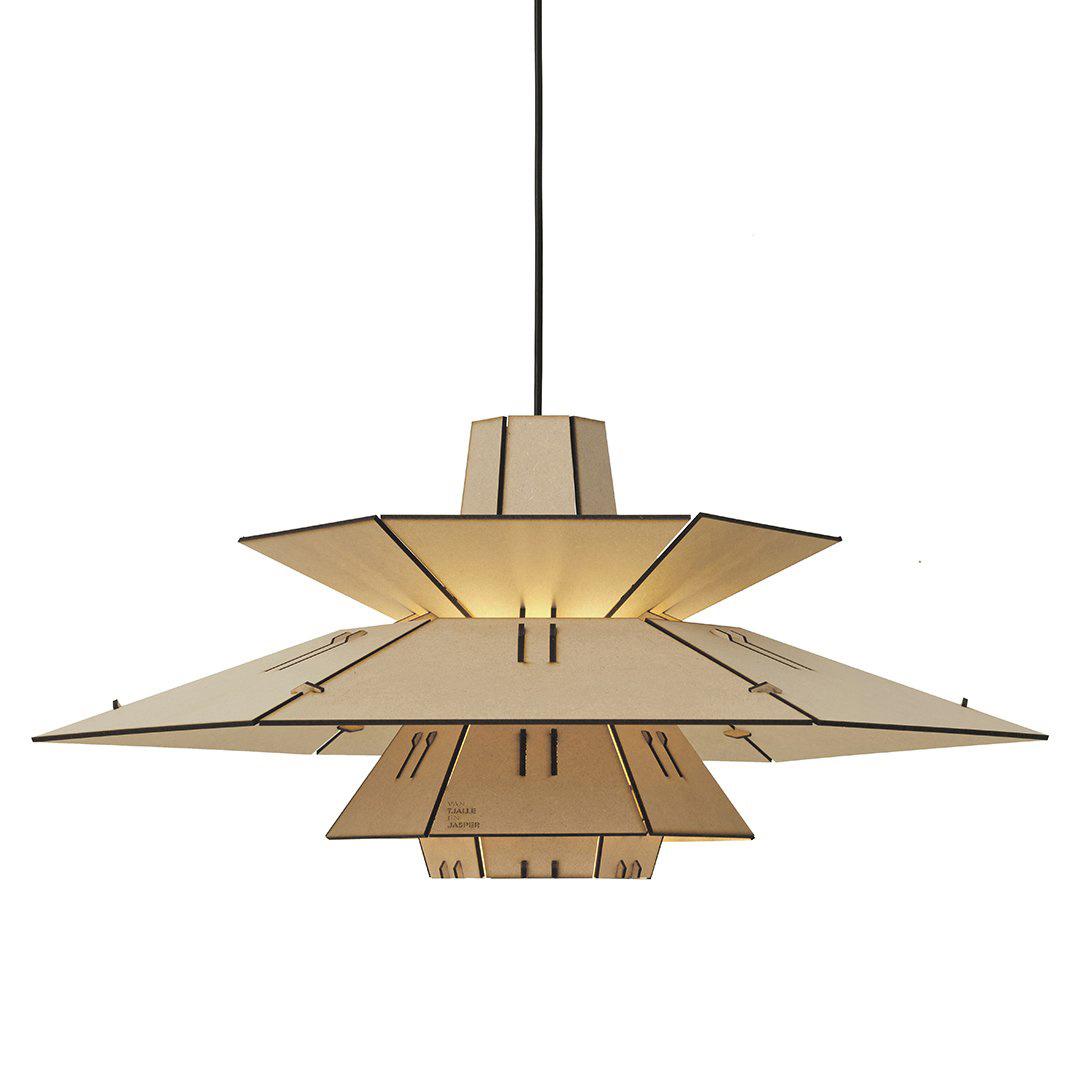 Houten retro design hanglamp als bouwpakket