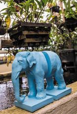 Blue elephant book ends