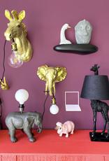 Zwarte giraffe tafellamp met lampenkap
