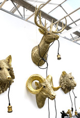 Gold ram head throphy wall light