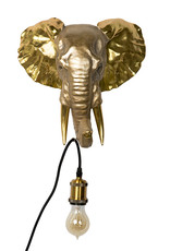 Gold elephant throphy wall light