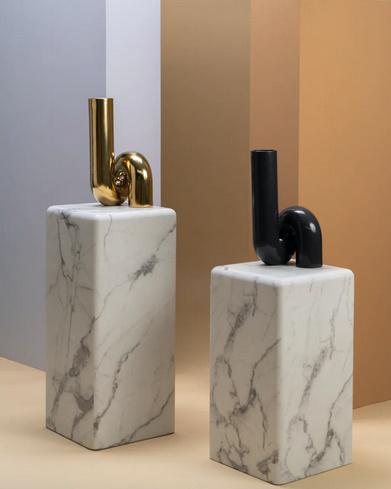 "Moderne design vaas van zwart keramiek ""Tube"""