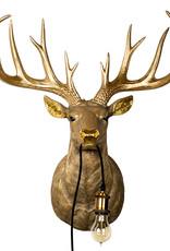 Gold deer head throphy wall light