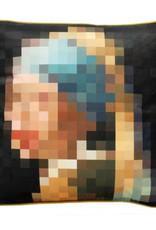 Design sierkussen met meisje met parel pixel print
