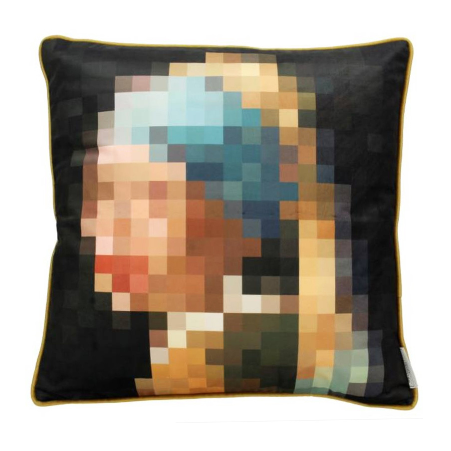 Sofa cushion with girl with pearl pixel print